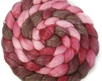 Handpainted Merino Tencel Wool Roving - 4 oz. VICTORIA - Spinning Fiber