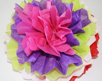 Mexican Paper Flowers Pom Poms - Set of 10