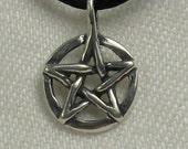 Small Pentacle, flat pendant, Solid Sterling Silver, pentagram