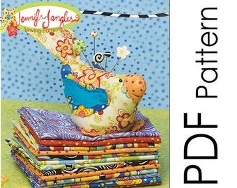 PDF Jennifer Jangles Pretty Bird Pin Cushion Sewing Pattern
