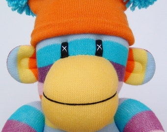 Cheeky Striped Sock Monkey (made to order)