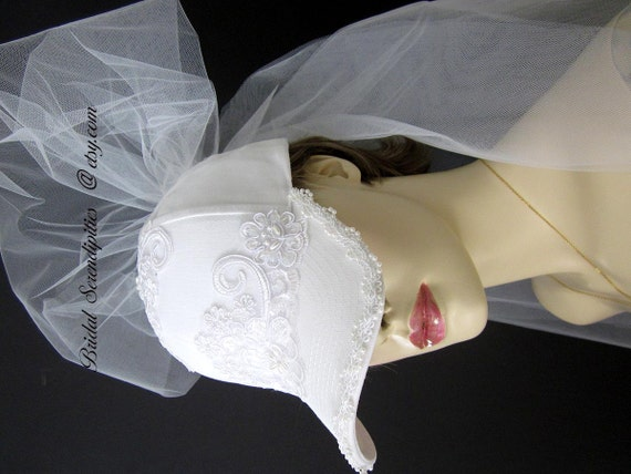 Brides Bridal Baseball Cap Tulle Veil Embroidered Lace And