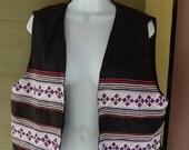 Vintage 80s 90s Tribal Zigzag Quilted Embellished Purple & Black Vest Size L/XL