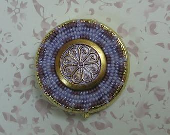 Hand Beaded Purple Patina Medallion Pill Box