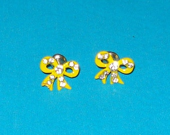 Bright Yellow and Rhinestone Bow Post Earrings
