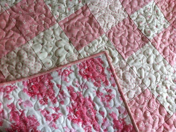Pink and white baby Quilt - Laura Ashley style blanket