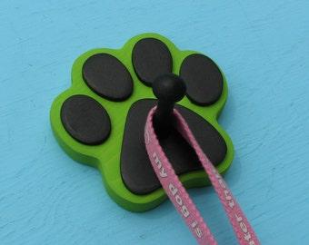 Leash Holder LIME GREEN  Dog - Wood Paw Print Peg Hook