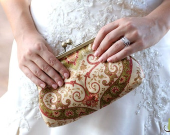 Wedding Clutch Frame Kisslock Purse Lined in Silk in a Damask Print Bridesmaid Bride Gifts Bridal