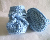 6 to 12 months size crocheted Blue baby booties