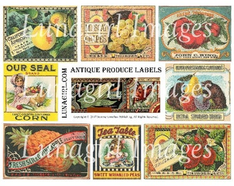 Antique PRODUCE LABELS digital collage sheet, vintage images, Victorian crate labels, fruit garden, altered art ephemera printable DOWNLOAD