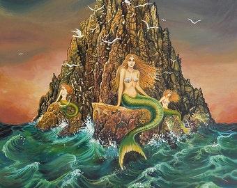 The Mermaids Ocean Goddess Art Original Acrylic Painting