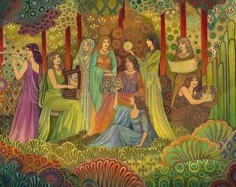 Nine Muses 5x7 Blank Greeting Card Art Deco Bohemian Greek Goddess Art