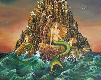 The Mermaids 8x10 Fine Art Print Mermaid Mythology Art Nouveau Ocean Goddess Art