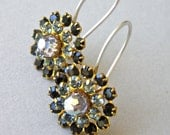 Earrings - vintage Swarovski crystal and brass flower, modern Swarovksi crystal and sterling silver earrings - Sage Gossamer