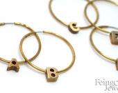 Custom Monogram Brass Hoop Earrings - Tiny Vintage Letters- Free US Shipping