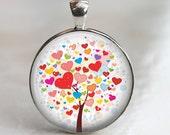 Tree of Hearts - Glass Pendant in Silver Bezel 30mm