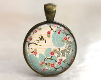 Japanese Garden - Glass Pendant, Necklace or Key Chain in choice of bezel color.