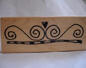 pen and ink border with heart rubber stamp