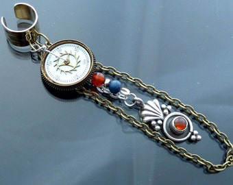 When Seconds Count Ear Cuff or Necklace Sterling silver pendulum orange carnelian blue lapis steampunk old watch parts dial