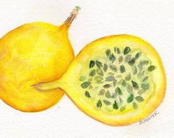 Passion Fruit original Watercolors Paintings  5 x 7 Fruit artwork,  Food art, food illustration, original watercolor painting passion fruit