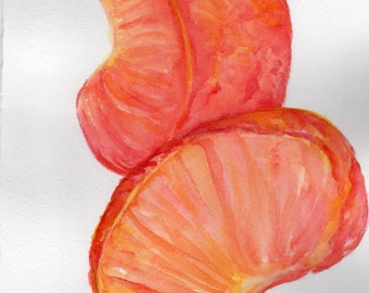 Clementine segments Watercolors Paintings Original, Citrus Fruit Watercolor,  painting of mandarin oranges, kitchen Original ART, 7 x 10
