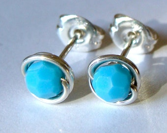 Tiny 4mm Turquoise Swarovski Crystal Post Earrings Wire Wrapped in Sterling Silver Stud Earrings Studs