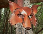 Mr Fox,   Dark Burnt Orange brown with dark brown detailing Fox mask, leather mask