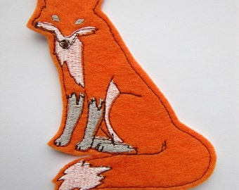Orange Fox Iron on Sew on Felt Patch Applique - patches for jackets - cute patches - felt animals