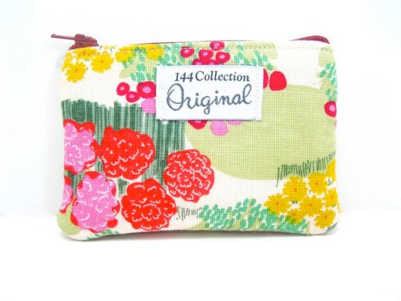 Coin Purse - Pink Tiny Forest Change Purse, Coin Wallet, Zipper Pouch