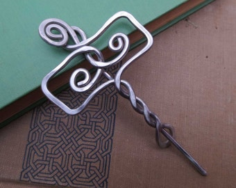Norse Thor's Hammer Mjolnir Shawl Pin, Scarf Pin, Sweater Closure, Brooch - Light Weight Aluminum Celtic Knotwork Accessory, Women, Knitting