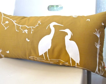 Golden Brown Egret Lovers in the Swamp Rectangle Pillow
