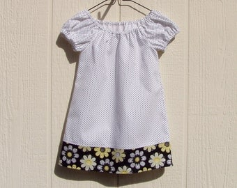 Dots and Flowers Peasant Dress Size 12 Months