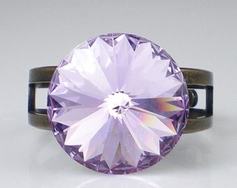 Rhinestone Ring, Adjustable Ring, Crystal Ring, Gift for Her, Swarovski Crystal, Statement Ring, Crystal Jewelry, Lavender Ring
