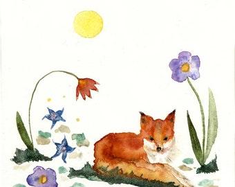little fox in the garden