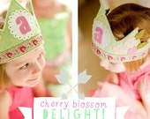 Flower Birthday Crown - pink and green  - Shabby Chic Party Hat