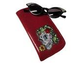 Rockabilly Girly Skull Sunglasses Case - Glitter Eyeglass Case Metal flake