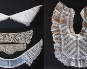 Lot of 5 Vintage Antique Lace Collars Embellishments 1930s Craft Sewing Tatted