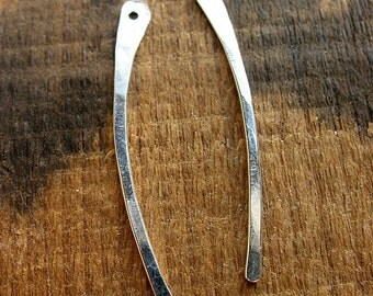 Bright Sterling Silver Blades - 1 pair - Hammered Artisan Jewelry Components