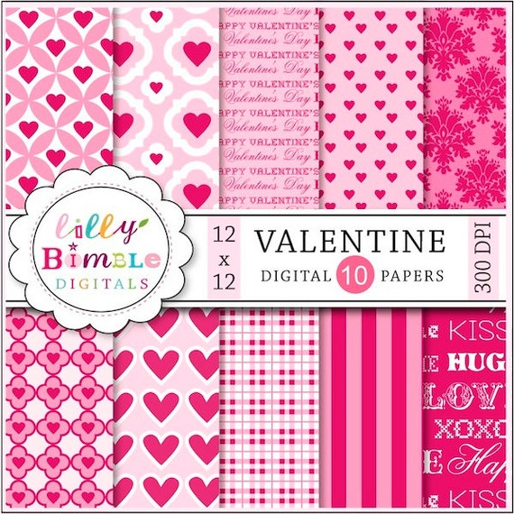 80% off Valentine Digital Paper, hearts, scrapbook papers, INSTANT DOWNLOAD, be mine, commercial use
