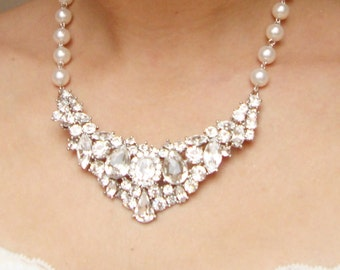 Statement Bridal Necklace, Vintage Wedding Necklace, Art Deco Bridal Necklace, Crystal Bib Necklace, Wedding Jewelry, DAVINA