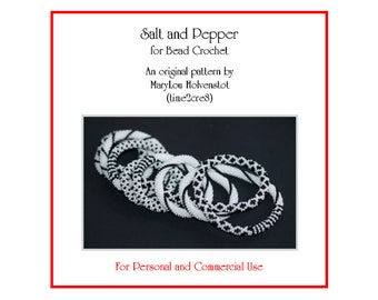 Bead Crochet Pattern ... SALT and PEPPER ... Black and White . Two Color . PDF . Personal . Commercial . Stripes . Diamonds . Dots . Spiral