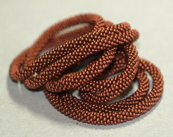 Copper Strand ... Necklace . Bead Crochet . Infinity . Wrap . Bracelet . Dark Copper . Elegant . Simple . Chic . Metallic . Rope
