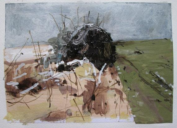 Ice Storm, April 12, Original Landscape Collage Painting on Paper