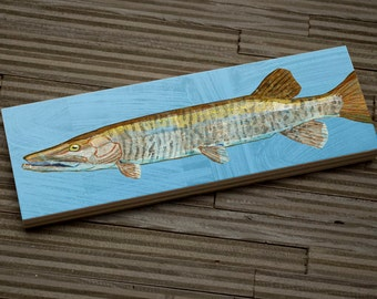 "Medium Freshwater Fish Art Block- Muskellunge Art Print- 9""x3"" Fish Wall Decor Fisherman Gift for Dad- Lake House Decor- Fish Gifts for Him"