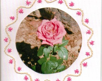 Set of Hand Embroidered Border Flower Blank Greeting Cards