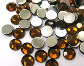 Acrylic Rhinestone Cabochon Beads, Faceted, Circle, Dark Brown, 6mm, 500pcs