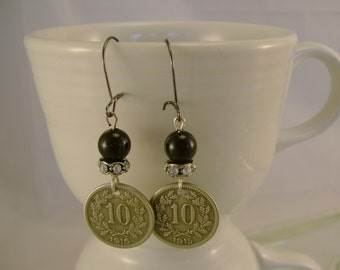 Ten - Antique 1915 and 1916 Foreign Coins Rhinestones Black Pearl Recycled Repurposed Earrings