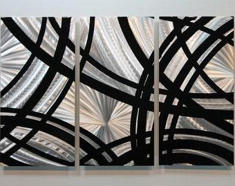 Silver & Black Modern Metal Wall Art, Abstract Metal Wall Sculpture, Home Decor, Office Artwork - Starting Point by Jon Allen