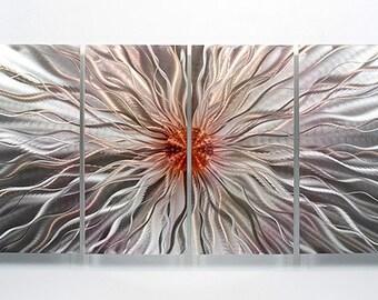 Silver & Red Modern Metal Wall Art - Contemporary Wall Sculpture - Accent - Metallic Hanging - Home Decor - Fired Up by Jon Allen