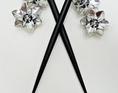Pair of Black Six Inch Wooden Hair Sticks with Metallic Silver Flowers